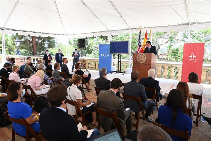 22/07/2021. Pedro Sánchez visita el Instituto Cervantes. El presidente del Gobierno, Pedro Sánchez, durante su intervención en el acto del I...