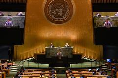 El presidente del Gobierno, Pedro Sánchez, durante su intervención en la 76ª Asamblea General de la ONU