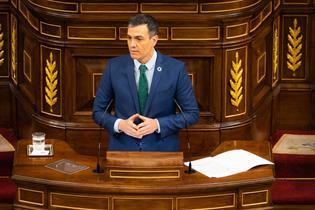 El presidente del Gobierno, Pedro Sánchez, durante su comparencia ante el Pleno del Congreso de los Diputados
