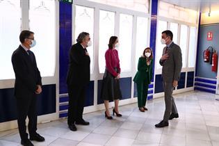 El presidente Pedro Sánchez y los miembros del gobierno Nadia Calvinho, Reyes Maroto y José Manuel Rodríguez Uribes