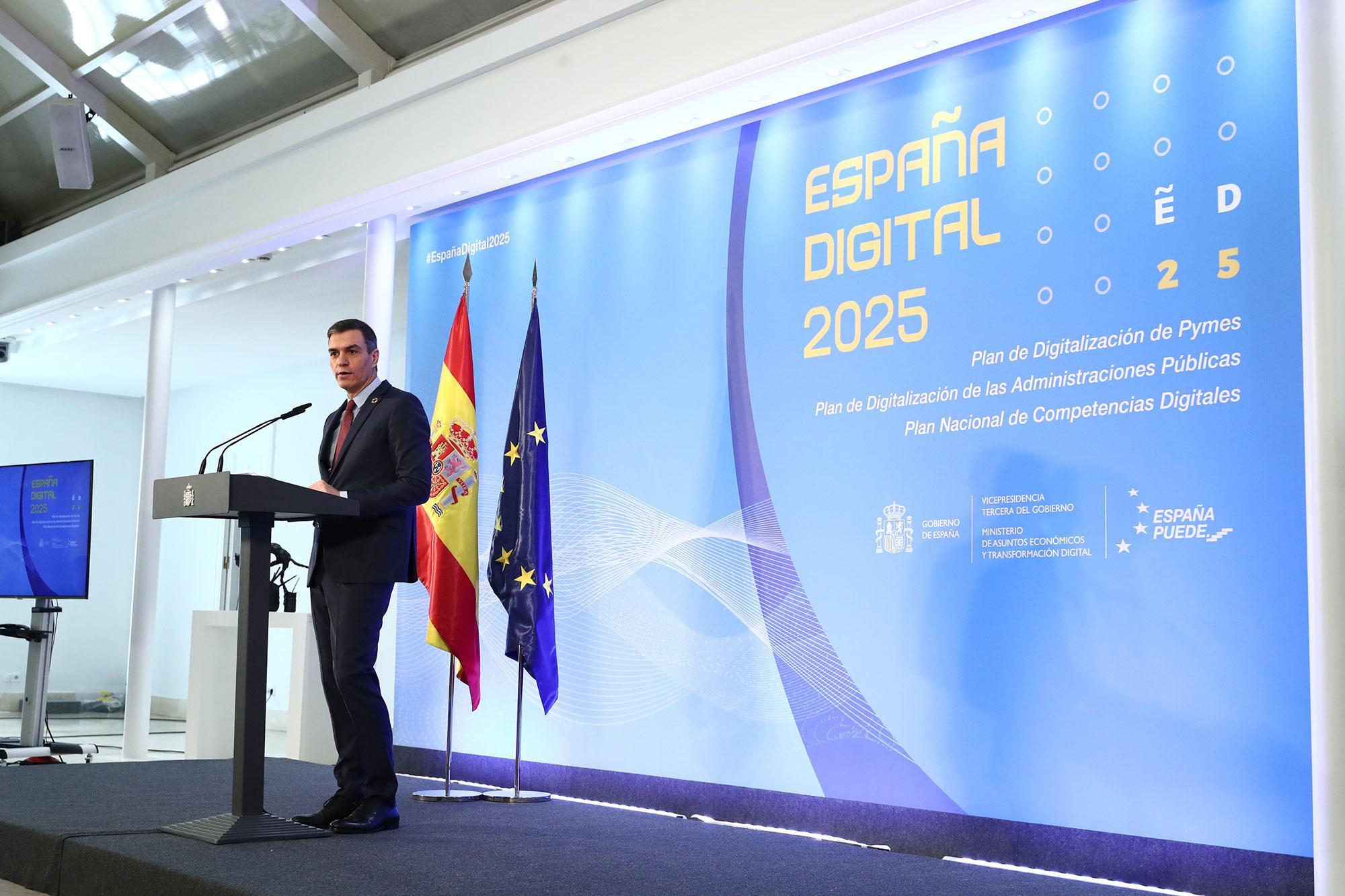 El primer ministro Pedro Sánchez durante su discurso