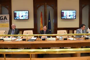 Luis Planas junto a los asistentes a la videoconferencia