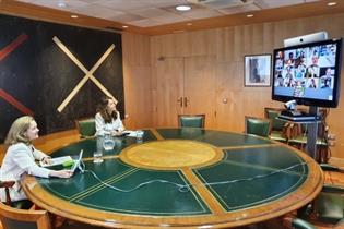 La ministra Nadia Calviño, durante la videoconferencia