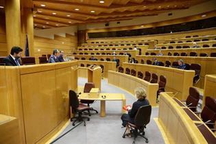El ministro Pedro Duque durante su intervención en el Senado