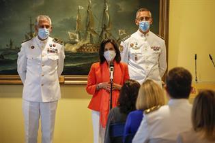 La ministra Margarita Robles durante su intervención en el acto de homenaje
