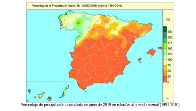 Mapa que muestra el porcentaje de precipitación acumulada en junio de 2019 en relación al periodo normal (1981-2010)