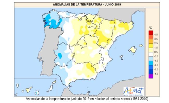 Mapa que muestra las anomalías de temperatura de junio de 2019 en relación al periodo normal (1981-2010)