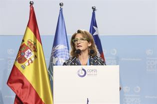 Teresa Ribera durante su intervención en la inauguración Segmento Alto Nivel COP25