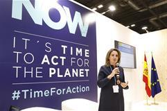 La ministra para la Transición Ecológica en funciones, Teresa Ribera, en la clausura del espacio español dentro de la COP25