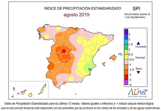 Indice de precipitación estandarizado de agosto 2019