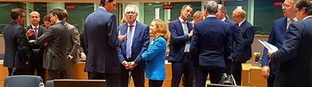 Nadia Calviño con sus homólogos europeos en Bruselas