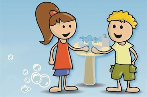 Dibujo de una niña y un niño lavándose las manos
