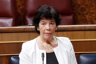 Isabel Celaá durante su intervención en el Congreso de los Diputados