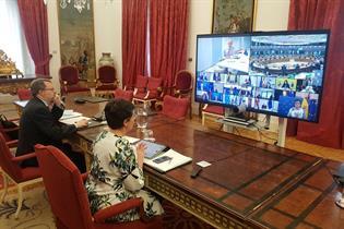 La ministra Arancha Gonz?lez Laya durante la reuni?n por videoconferencia