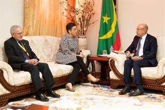 González Laya con el Presidente de Mauritania, Mohamed Ould Ghazouani