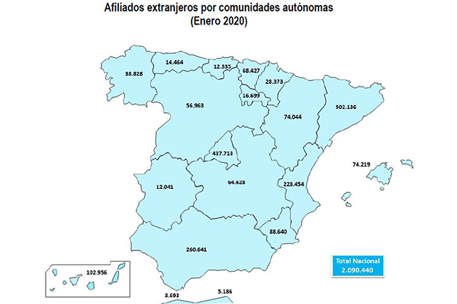 Afiliados extranjeros por comunidades autónomas