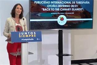 La ministra Reyes Maroto durante la presentación de la campaña