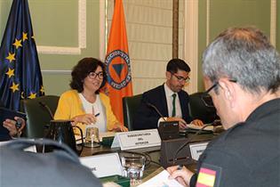 La subsecretaria de Interior, Isabel Goicoechea, durante la reunión