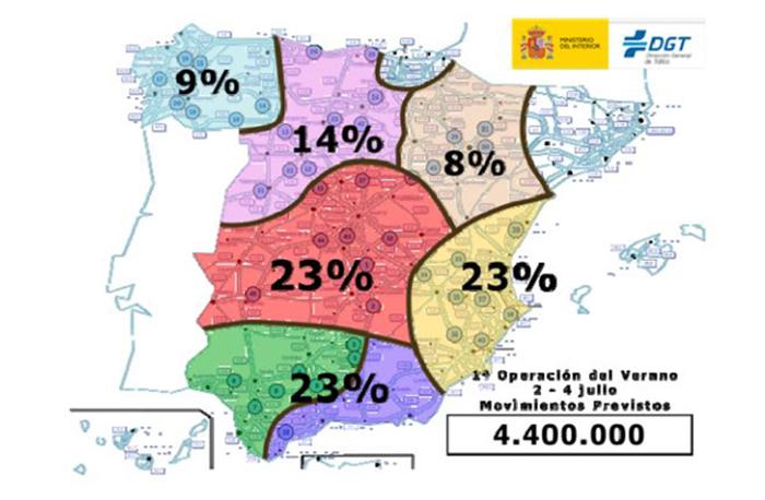 Mapa con la previsión de desplazamientos