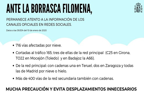 10/01/2021. Información del Ministerio del Interior sobre incidencias y respuestas frente al temporal Filomena