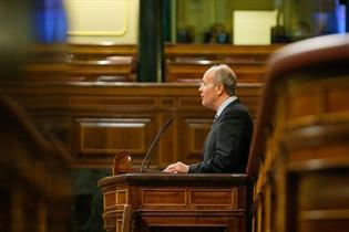 El ministro de Justicia, Juan Carlos Campo, durante su intervención en el Congreso