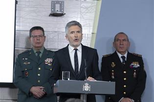 El ministro del Interior, Fernando Grande-Marlaska, durante la comparecencia en La Moncloa