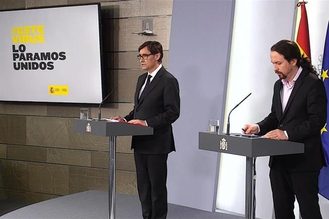19/03/2020. Comparecencia de Pablo Iglesias y Salvador Illa. El vicepresidente segundo y ministro de Asuntos Sociales y Agenda 2030, Pablo I...