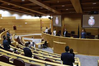 La ministra Yolanda D?az, durante el minuto de silencia en el Senado por las v?ctimas del COVID-19