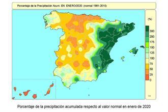 Mapa de España con el porcentaje de la precipitación acumulada respecto al valor normal en enero de 2020 de