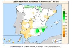 Mapa de porcentaje de la precipitación caída en 2019 respecto de la media 1981-2010