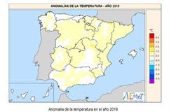Mapa Anomalía de la temperatura en el año 2019