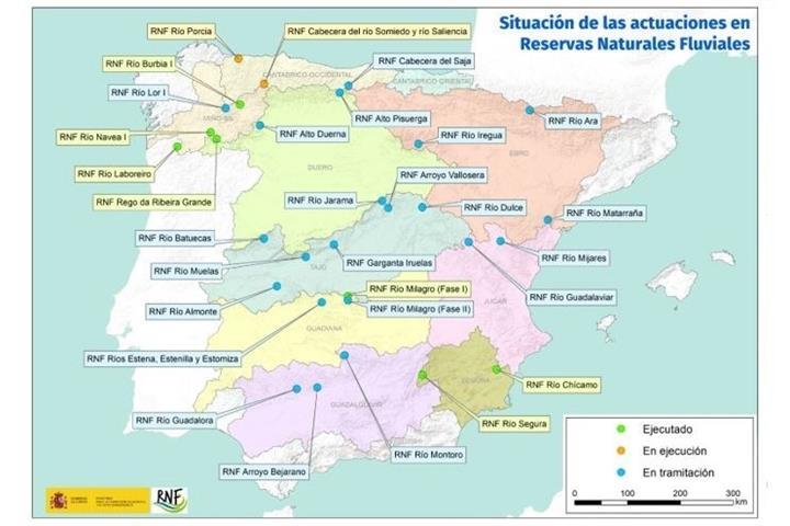 Mapa de las Reservas Naturales Fluviales