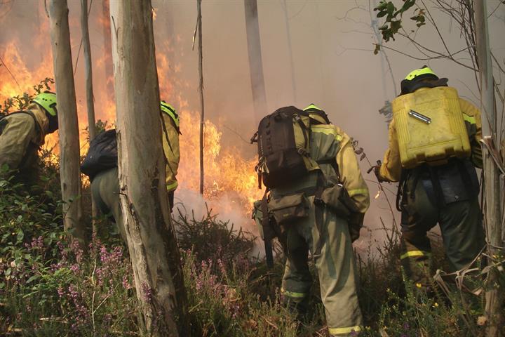 El MITECO despliega medios aéreos y terrestres para apoyar las tareas de extinción de cinco incendios declarados en Orense